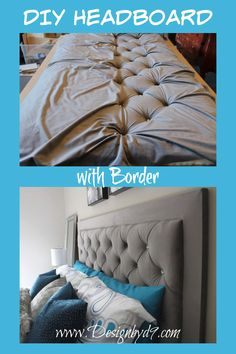 How to make a DIY Headboard with border and crystal buttons. You don't need to buy a headboard, you can make one yourself! I made mine in grey, but you can make yours any colour. Diamond tufted headboard. Diy Tufted Headboard, King Size Headboard, Upholstered Bed Frame, Headboards, Diy Bed Frame, Bed Frames, Furniture Makeover, Diy Furniture, Master Bedroom Makeover