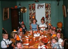 Dresses, ties and paper hats. Vintage Fall Party. #orange #halloween #fall #autumn #kitschyliving #kids #party #youth
