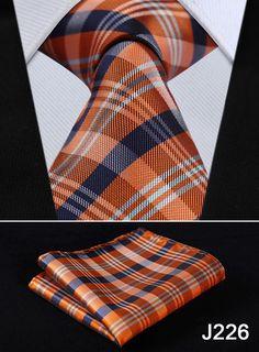 """Check Floral Striped Dot 3.4"""" Silk Wedding Jacquard Woven Men Tie Necktie Pocket Square Handkerchief Set Suit J2-2"""