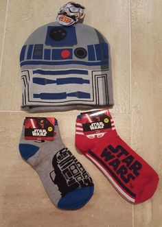 Disney Star Wars R2-D2 Gray Blue Beanie Hat & Socks NWT Boys Mens Set of 3 #Beanie