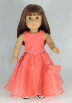 Beautiful pink gown with purse for American Girl.