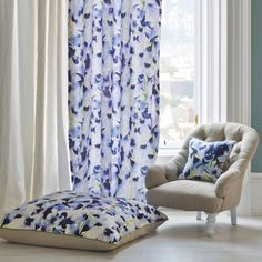 The Harebelle fabric is the perfect combination of oversized, blue hued, delphinium florals and zesty charteuse green stems in abstract style Cactus Fabric, Teal Fabric, Floral Fabric, Floral Prints, Curtain Fabric, Fabric Panels, Curtains, Bluebellgray, Pillow Inspiration