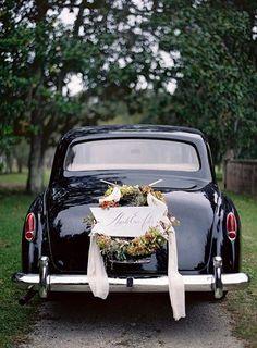 A winter wedding getaway car   Brides.com