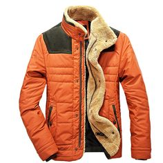 Fashion Mens Warm winter Jacket Vintage Outerwear Hipster Motorcycle coat  Orange Hipsters 984d34b64b891