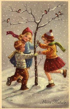 Postales, Navidad, vintage, Christmas time, postcards