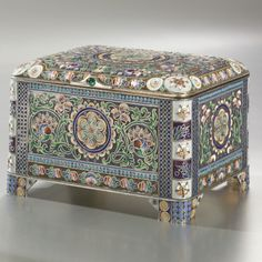 A Russian Gilded Silver and Shaded Enamel Casket, Eleventh Artel, Moscow, circa 1910