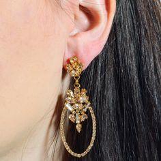 Swarvoski Ellipse Golden Drop Earrings by LK Designs