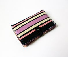 Purple Black Stripes Fabric Business Card Holder, with Plum Garden Blossom Swirl- Credit Card Holder, Cloth Card Holder, Gift Card Holder