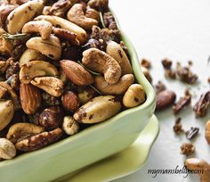 party snack recipes, spiced nuts, easy snack recipes, glazed nuts