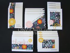 What do you get when you cross a 12 x 12 piece of designer series paper with a package of whisper white note cards?  20 easy to make note cards.  I designed my own ONE SHEET WONDER to make 20 note cards (5 designs, 4 of each).  Cutting Instructions and a video here: http://qbeesquest.blogspot.com/2015/03/one-sheet-wonder-note-cards.html