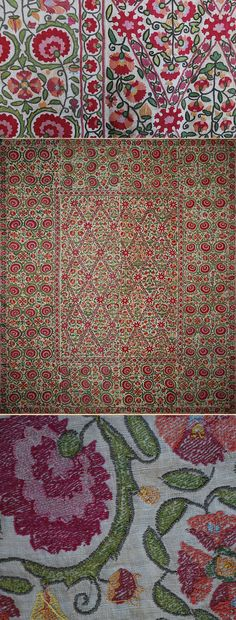 "Antique Central Asian Suzani. Silk Embroidery on Cotton Circa 1850 Size 84"" x 77"" Size 214 x 159 cm Top Image is Detail"