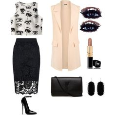 A fashion look from August 2015 featuring Chicnova Fashion tops, WearAll vests et Quiz skirts. Browse and shop related looks.