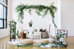 Bohemian Picnic elopement. Indoor loft space transformed into the perfect botanical boho picnic for two.
