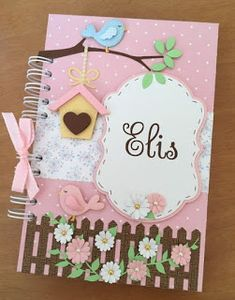 Curso gratis aprende cómo hacer libretas y agendas artesanales ~ Belleza y Peinados Kids Crafts, Foam Crafts, Diy Arts And Crafts, Paper Crafts, Notebook Cover Design, Diy Notebook, Notebook Covers, Scrapbook Cover, Baby Scrapbook
