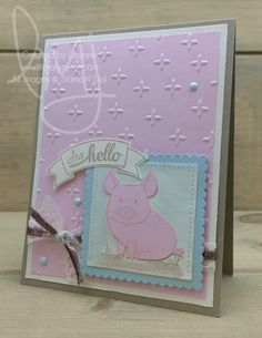 Hello Little Piggy | Stampin\' Up! | This Little Piggy | Badges & Banners #literallymyjoy #pig #piggy #hello #watercoloring #20162017AnnualCatalog #20172018AnnualCatalog