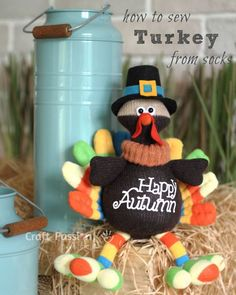 Here's a sock turkey you can sew for decor or give as a gift.Sure to delight all who see him hanging in a wreath on your door.Not just for Thanksgiving but as a reminder when fall is here.Wonderful sewing project for one and all.Babies & toddlers will truly enjoy the bright colors and the soft filling inside.