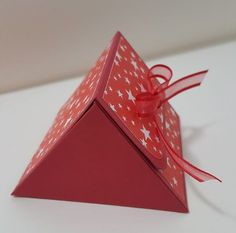 """Hello, everybody! Today Project is Trianglular Treat Box (reinforced), for chocolates. Cardstock measures 9 3/4"""" x 7"""". Score on t..."""