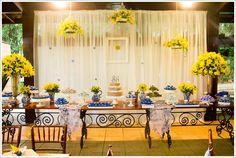 decoração mesa do bolo casamento azul e amarelo - Pesquisa Google
