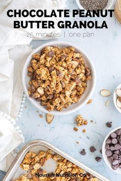 Make your own chocolate peanut butter granola from scratch. It's easy, takes just 25 minutes, and is a great way to use up extra grains and seeds from your pantry. All you need are oats, peanut butter, honey, peanut butter powder, and seeds. #granola Yogurt Breakfast, Sweet Breakfast, Perfect Breakfast, Breakfast Ideas, Breakfast Recipes, Peanut Recipes, Snack Recipes, Dessert Recipes, Desserts