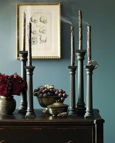 Gothic entry....use columns for wedding cakes and spray paint them matte-gray
