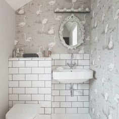 After downstairs toilet ideas and cloakroom ideas? Find your ideal style small cloakroom with these beautiful small cloakroom ideas. Flamingo Wallpaper, Bathroom Wallpaper, Home Wallpaper, Wallpaper Ideas, Funky Wallpaper, Brick Wallpaper, Downstairs Cloakroom, Downstairs Toilet, Small Wc Ideas Downstairs Loo