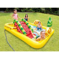 Intex Fun'N Fruity Outdoor Inflatable Kiddie Pool Play Center with Slide Water Play, Pool Water, Sprinkler Parts, Basson, Kiddie Pool, Colorful Fruit, Play Centre, Water Slides, In Ground Pools
