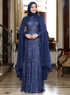 The perfect addition to any Muslimah outfit, shop Al-Marah's stylish Muslim fashion Navy Blue - Multi - Fully Lined - Crew neck - Muslim Evening Dress. Muslim Evening Dresses, Hijab Evening Dress, Hijab Dress Party, Muslim Dress, Muslim Fashion, Hijab Fashion, Navy Dress Outfits, Cheap Maxi Dresses, Blue Wedding Dresses