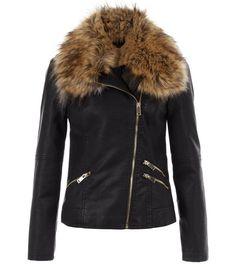 Black Leather-Look Faux Fur Trim Jacket | New Look