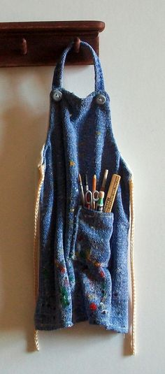 miniature denim artists' apron, Jill Marquis, Marquis Miniatures on etsy