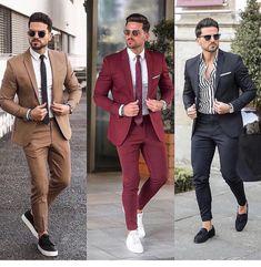 Classy Wedding Tuxedos Groom Attire Burgundy Suits 2020 Custom Make Groomsmen Suit jacket+pants Slim Fit Bridegroom Tailcoat Brown Mens Fashion Blazer, Mens Fashion Wear, Suit Fashion, Casual Interview Attire, Formal Attire For Men, Terno Slim, Black Tie Attire, Burgundy Suit, Custom Made Suits