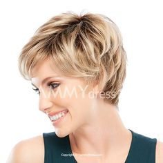 Casual Style Side Bang Fluffy Straight Blonde Mixed Color Heat Resistant Capless Short Wig For Women