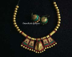 Terracotta Jewellery Making, Terracotta Jewellery Designs, Terracotta Earrings, Diy Jewellery, Jewelry Crafts, Handmade Jewelry, Beaded Necklace Patterns, Jewelry Patterns, Teracotta Jewellery
