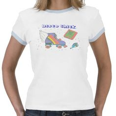 Disco Chick 80's Roller Skate Icon Design Tshirts