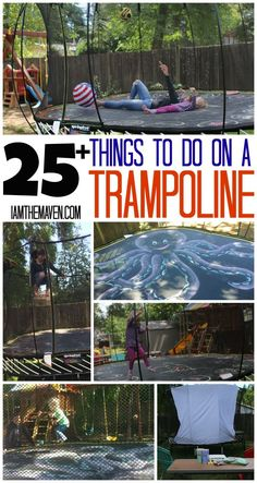 Do you love trampoline games? Nothing screams summer like lot of things to do on a trampoline including making your own backyard movie theater, playing games and more! What do you love to do on a trampoline? Best Trampoline, Backyard Trampoline, Trampoline Workout, Backyard Games, Fun Trampoline Games, Backyard Ideas, Trampoline Safety, Trampoline Parts, Backyard Playground
