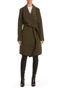 Sleek faux-leather piping puts a polished finish on this draped-collar coat in a long wrap silhouette, cut from warm melton fabric and nonchalantly tied with a self-fabric belt.