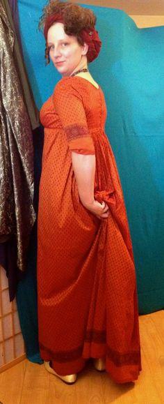 The Laced Angel: Orange Regency Sari Gown Historical Costume, Historical Clothing, Historical Dress, Saree Gown, Sari, Regency Dress, Regency Era, Fantasy Costumes, Halloween Fancy Dress