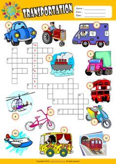 Transportation Crossword Puzzle ESL Vocabulary Worksheet