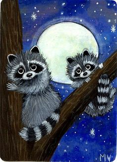 Original Raccoon Baby Full Super Moon Stars Trees Autumn Fall ACEO Print
