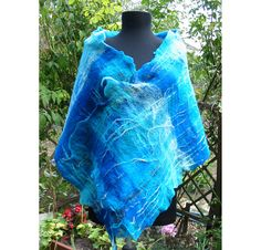 Christmas Gift Cian Blue Exotic Shawl Merino Wool by RumiWay, $59.00