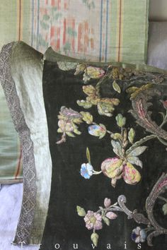 18th century or earlier silk and metallic embroidery couched onto velvet