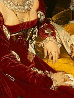 Traveling through history of Art...Portrait of Madame la Vicomtesse de Sennones, detail, by Jean-Auguste-Dominique Ingres, 1814.