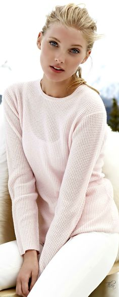 Soft and feminine pastel sweater. Elsa Hosk via @elroci. #sweaters #pastels