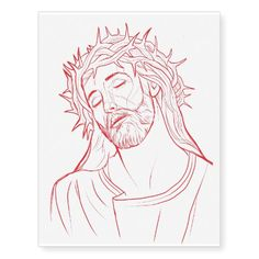 Jesus Christ Portrait Red Drawing Tattoo