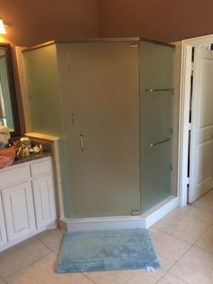 Frameless neo- angle shower in Satin Glass with a door, 3 panels, pivot hinges, top header, BM style handle and towel bars through the glass in Brushed Nickel finish Nickel Finish, Brushed Nickel, Neo Angle Shower, Frameless Shower Enclosures, Towel Bars, Header, Tall Cabinet Storage, Minimalism, Handle
