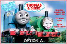 5x7 Custom Thomas the Train Birthday Party by CoastieLife on Etsy, $12.50