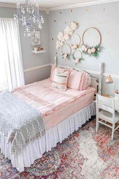 Big Girl Bedrooms, Pink Bedrooms, Little Girl Rooms, Girls Pink Bedroom Ideas, Vintage Girls Bedrooms, Cheap Bedroom Ideas, Modern Girls Rooms, Teenage Bedrooms, Girl Bedroom Designs