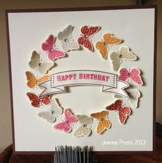 handmade birthday card from Stampin' Up! wreath of stamped and punched butterflies . luv the butterflies . Stampin' Up! Birthday Cards For Women, Handmade Birthday Cards, Happy Birthday Cards, Butterfly Cards Handmade, Butterfly Birthday Cards, Paper Cards, Cool Cards, Flower Cards, Scrapbook Cards