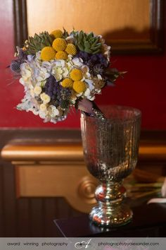 Blue hydrangea, billy balls, rustic blue bouquet   www.myfloralimpressions.com Follow us on Facebook