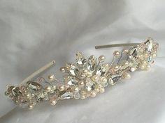 Bridal Wedding Tiara Headpiece ivory white pearl clear