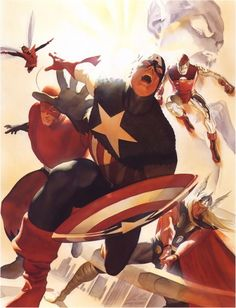 The Avengers are joined by Captain America by Alex Ross. A homage to the epic cover by Jack Kirby to Avengers Avengers Comics, Avengers Images, The Avengers, Marvel Heroes, Marvel Avengers, Avengers Universe, Captain Marvel, Dc Comics, Comic Book Artists